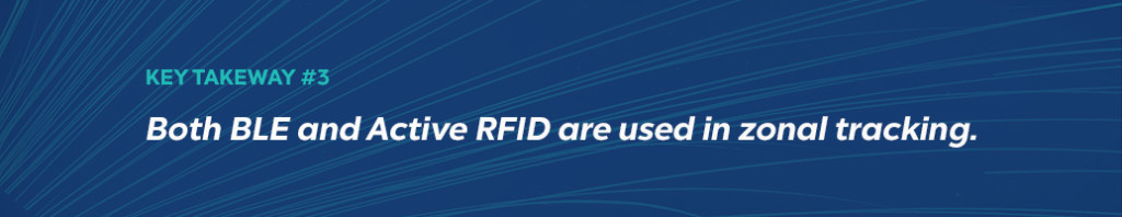 Real Time Location System Takeaway #3: Both BLE and Active RFID are used in zonal tracking.